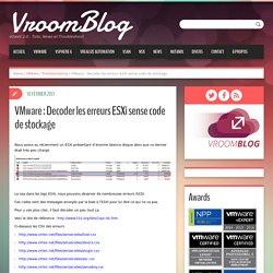 VMware : Decoder les erreurs ESXi sense code de stockage