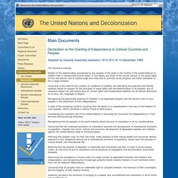 The United Nations and Decolonization - Declaration