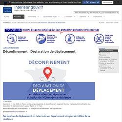 Déconfinement : Déclaration de déplacement / L'actu du Ministère / Actualités