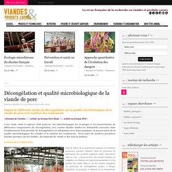 VIANDE ET PRODUITS CARNES 14/01/13 Décongélation et qualité microbiologique de la viande de porc