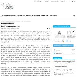 Droit à la déconnexion - La revue européenne des médias et du numérique