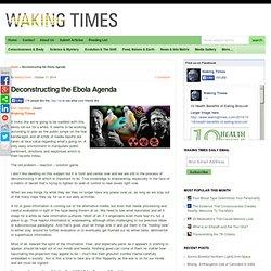 Deconstructing the Ebola Agenda