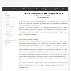 [Article]Déconstruire la notion de « sexe par défaut », Alexandre Magot