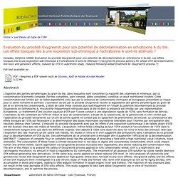INP TOULOUSE - 2006 - Thèse en ligne : Evaluation du procédé Oxygreen® pour son potentiel de décontamination en ochratoxine A du