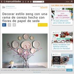Decorar estilo zeng con una rama de cerezo hecha con flores de papel de seda