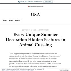 Every Unique Summer Decoration Hidden Features in Animal Crossing – USA