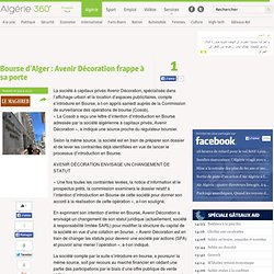 Bourse d'Alger : Avenir Décoration frappe à sa porte