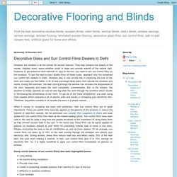 Decorative Flooring and Blinds: Decorative Glass and Sun Control Films Dealers in Delhi
