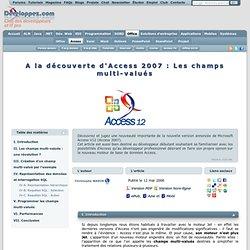 A la découverte d'Access 2007 : Les champs multi-valués