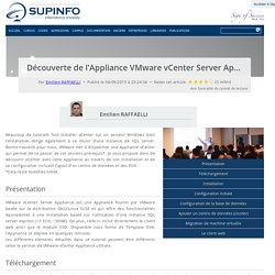 Découverte de l'Appliance VMware vCenter Server Appliance