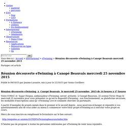 Réunion découverte eTwinning à Canopé Beauvais mercredi 25 novembre 2015 - Portail TICE