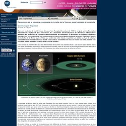 Découverte de la première exoplanète de la taille de la Terre en zone habitable d'une étoile