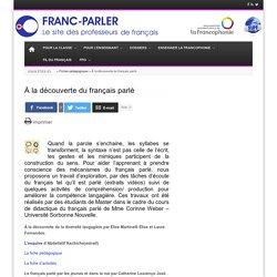 À la découverte du français parlé