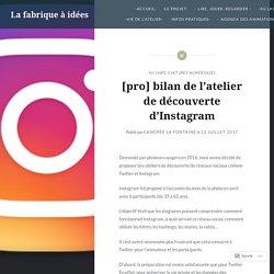 [pro] bilan de l'atelier de découverte d'Instagram – La fabrique à idées