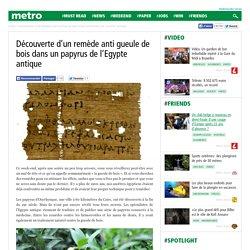 Découverte d'un remède anti gueule de bois dans un papyrus de l'Egypte antique