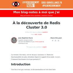 À la découverte de Redis Cluster 3.0 - Mon blog-notes à moi que j'ai