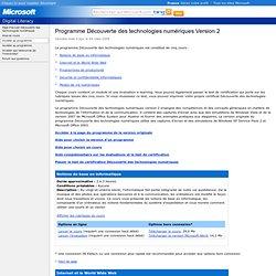 Programme Découverte des technologies numériques Version 2