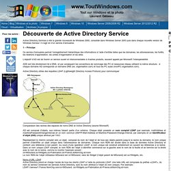 Découverte de Active Directory Service « www.ToutWindows.com – Tout sur Windows et la photo