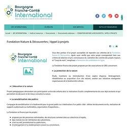 Fondation Nature & Découvertes / Appel à projets - BFC International