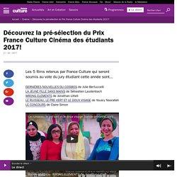 Découvrez la pré-sélection du Prix France Culture Cinéma des étudiants 2017!