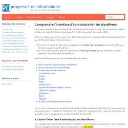 Découvrir l'interface d'administration de WordPress