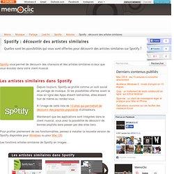 Spotify : découvrir des artistes similaires