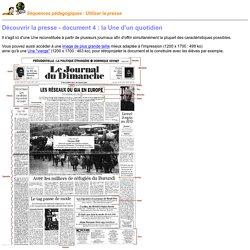 Découvrir la presse - Document 4 - La Une d'un quotidien