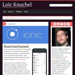Découvrir Ionic Framework