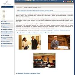 """Lancement du concours """"Découvrons notre Constitution"""""""