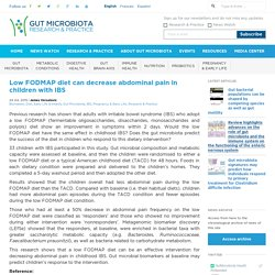Low FODMAP diet can decrease abdominal pain in children