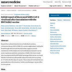 Initial report of decreased SARS-CoV-2 viral load after inoculation with the BNT162b2 vaccine / Nature Medicine, mars 2021
