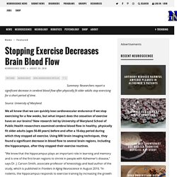 Stopping Exercise Decreases Brain Blood Flow – Neuroscience News