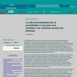 La décriminalisation de la prostitution n'est pas une solution à la violence envers les femmes