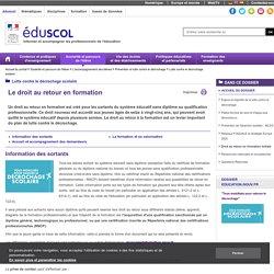 Remédiation du décrochage scolaire - Droit au retour en formation initiale
