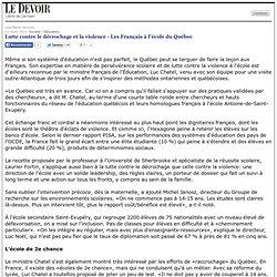 Lutte contre le décrochage et la violence - Les Français à l'école du Québec