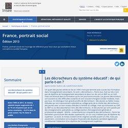 Les décrocheurs du système éducatif : de qui parle-t-on ?−France, portrait social - Insee Références - Édition 2013