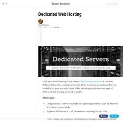 Dedicated Web Hosting Explained