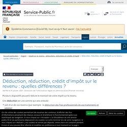 Déduction, réduction, crédit d'impôt sur le revenu: quelles différences ?
