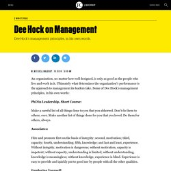 Dee Hock on Management