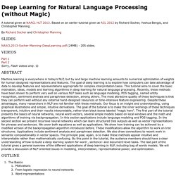Deep Learning Tutorial - NAACL 2013