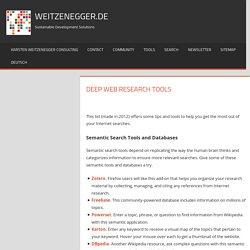 Deep Web Research Tools