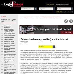 Defamation laws (cyber-libel) and the Internet - FREE Legal Information