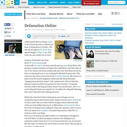 Defamation Online · Think Out Loud
