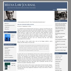 Web hosts' defamation liability restricted