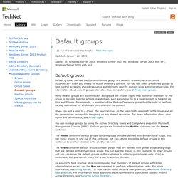 Default groups: Active Directory