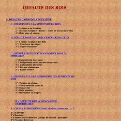 DEFAUTS DES BOIS