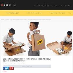 Des cartons usagers sont recyclés en sacs à dos et bureaux pour les enfants défavorisés