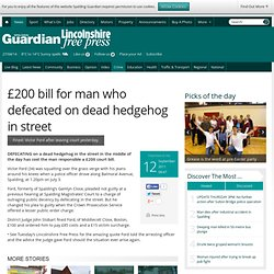 £200 bill for man who defecated on dead hedgehog in street - Crime - Spalding Guardian
