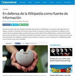 En defensa de la Wikipedia como fuente de información