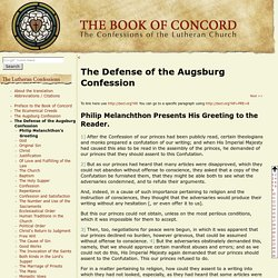 Defense of the Augsburg Confession - Book of Concord